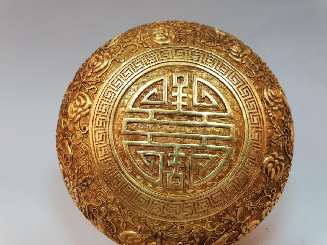 A CARVED GILT-GOLD BOX AND COVER ,MING DYNASTY - 6