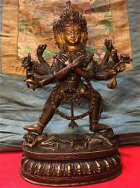A GILT-BRONZE FIGURE OF KAPALADHARA HEVARA.MING PERIOD
