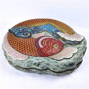 A CLOISONNE ENAMEL GILT-BRONZE ' FISH' BOX AND