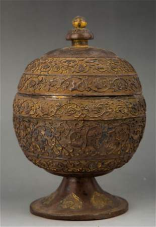 A GILT-SILVER FOOD VESSEL AND COVER