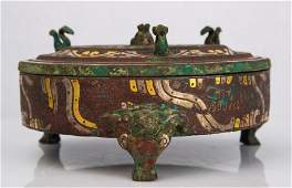 A GOLD AND SILVER INLAID BRONZE FOOD VESSEL AND COVER