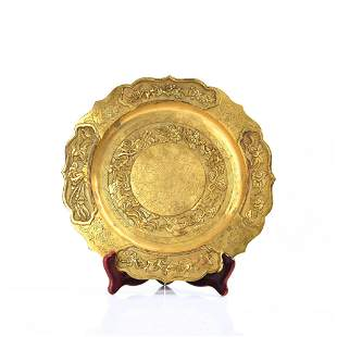 A CARVED GILT-BRONZE DISH