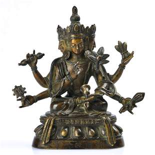 A GILT-BRONZE FIGURE OF BODHISATTVA.MARK OF QIANLONG