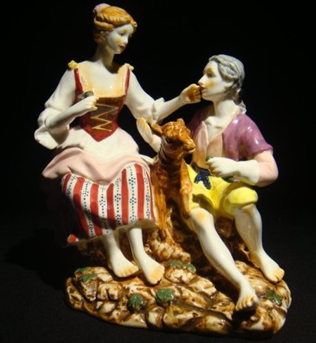 12: A Meissen porcelain figural group modeled
