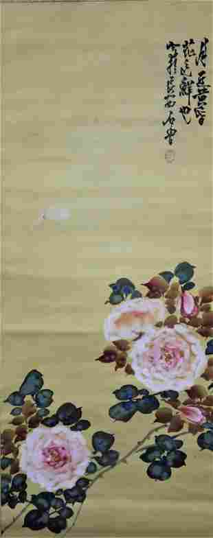A Chinese Flowers Painting Scroll, Shi Lu Mark