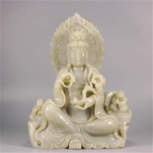 A Carved Hetian Jade Statue Of Guanyin