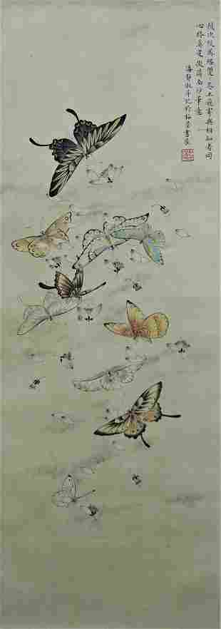 A Chinese Butterfly Painting Scroll, Pan Jingshu Mark