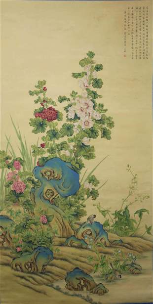 A Chinese Flowers Painting Scroll, Wang Chengpei Mark