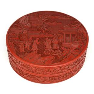 A Carved Cinnabar Lacquerware Figural Round Box And