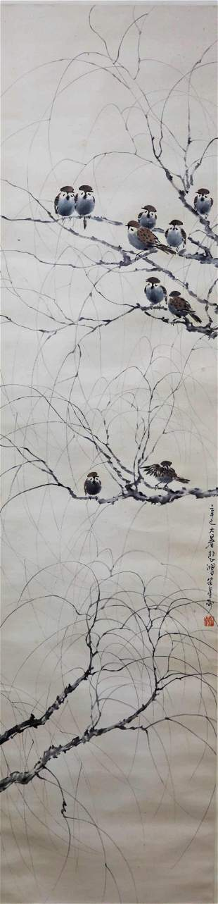 A Chinese Sparrow Painting Scroll, Xu Beihong Mark
