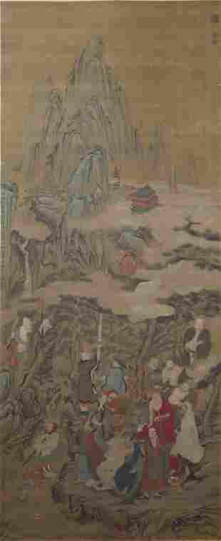 A Chinese Arhats Painting Scroll, Zhao Mengfu Mark