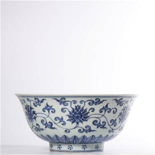 A BLUE AND WHITE BOWL.MARK OF XUANDE