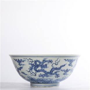 A BLUE AND WHITE 'DRAGON' BOWL.MARK OF CHENGHUA