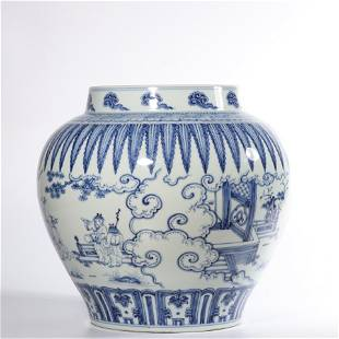 A BLUE AND WHITE 'FIGURAL' JAR .MARK OF CHENGHUA