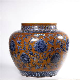 A BRONZE-GROUND BLUE AND WHITE JAR.MARK OF XUANDE