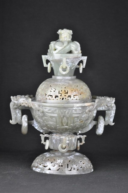 1: A JADE CENSER AND COVER (MING DYNASTY)
