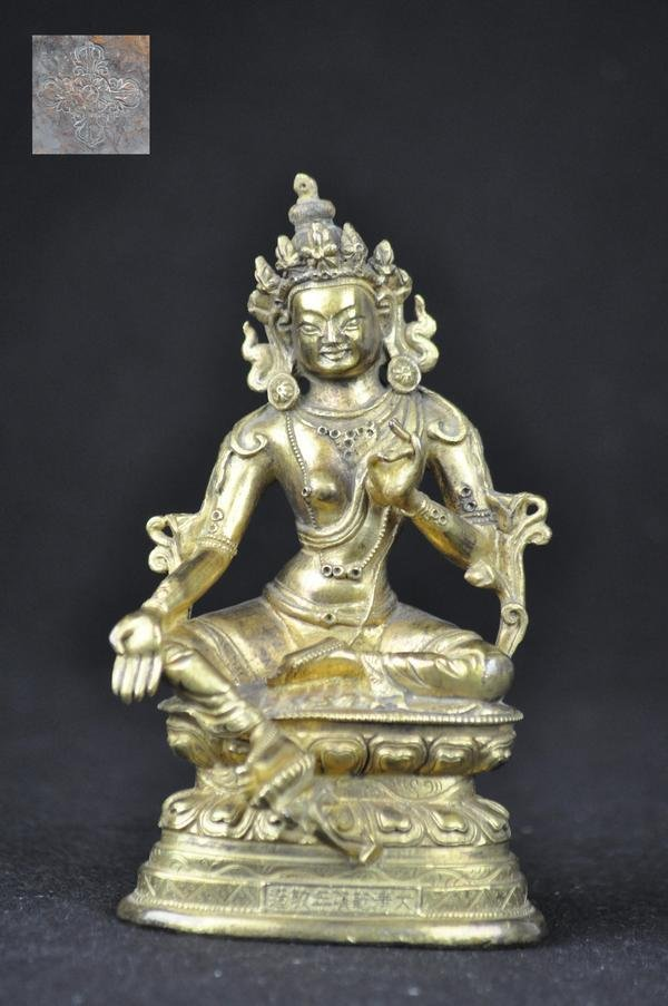 2: A GILT BRONZE FIGURE OF GREEN TARA, TIBETAN, (MARK A