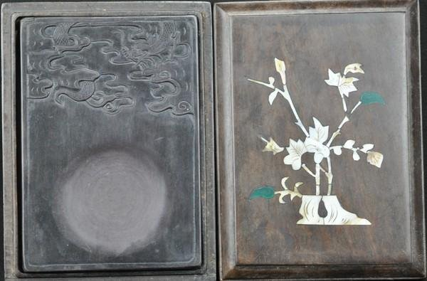 24: A DUAN STONE INK STONE WITH BOX.(QING DYNASTY)