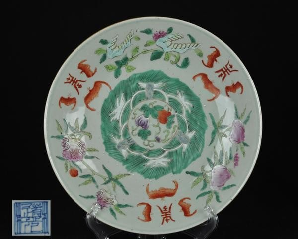 19: A FAMILLE-VERTE DISH.(QING DYNASTY)