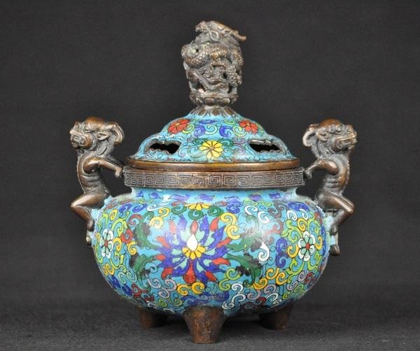 19: A CLOISONNE ENAMEL CENSER AND COVER.(MARK AND PERIO