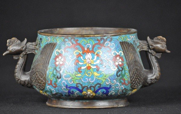 20: A CLOISONNE ENAMEL CENSER.(MARK AND PERIOD OF KANGX