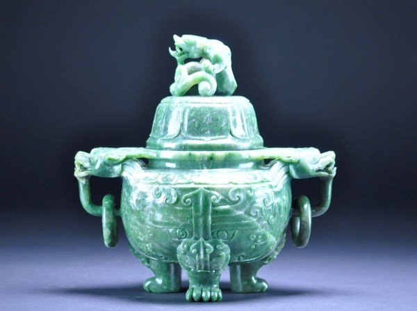 1: A FINELY CARVED SPINACH GREEN  JADE CENSER AND COVER