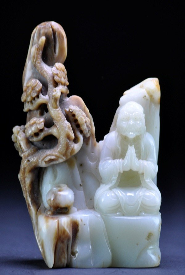 14: A  RUSSET JADE CARVING OF LUHAN.