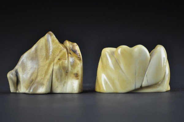 7: TWO OF IVORY CARVING.