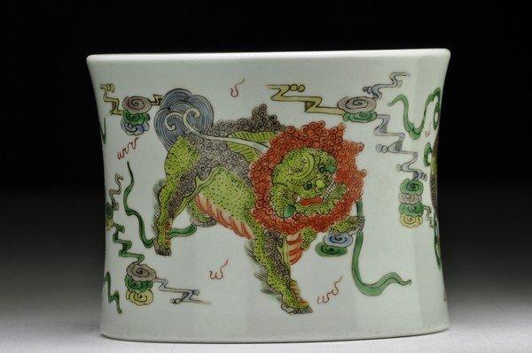 3: A CHINESE FAMILLE -ROSE BRUSHPOT.(KANGXI PERIOD)
