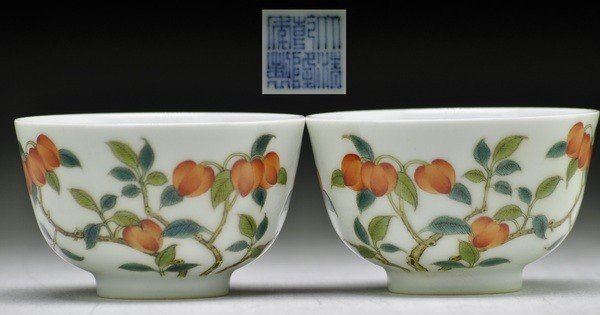 4: A PAIR OF FAMILLE- ROSE WINE CUPS .(MARK AND PERIOD