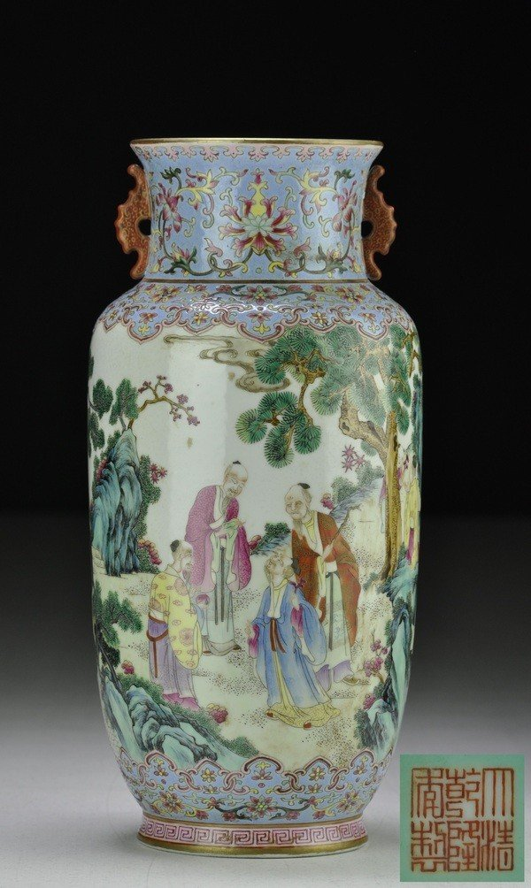 20: A FINE AND RARE FAMILLE ROSE LANTERN-SHAPED VASE .(