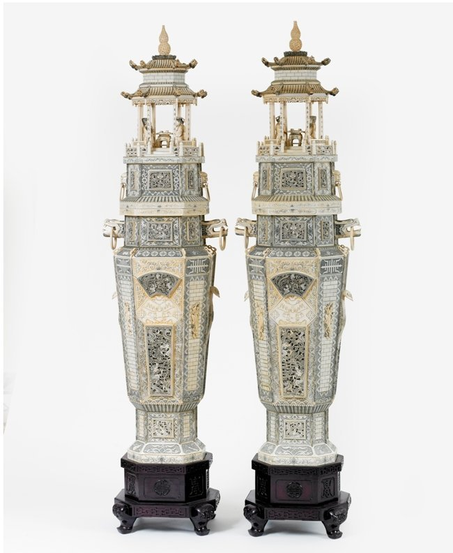 313: A PAIR LARGE CHINESE IVORY PAGODA VASES