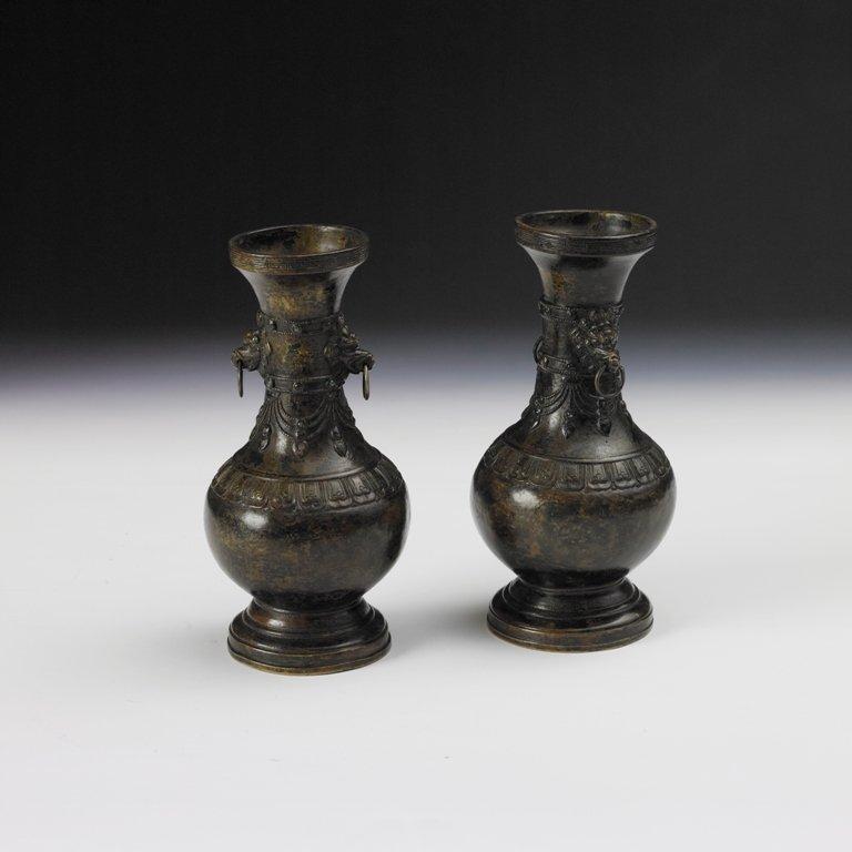 4: Pair of bronze veses, Qianlong period