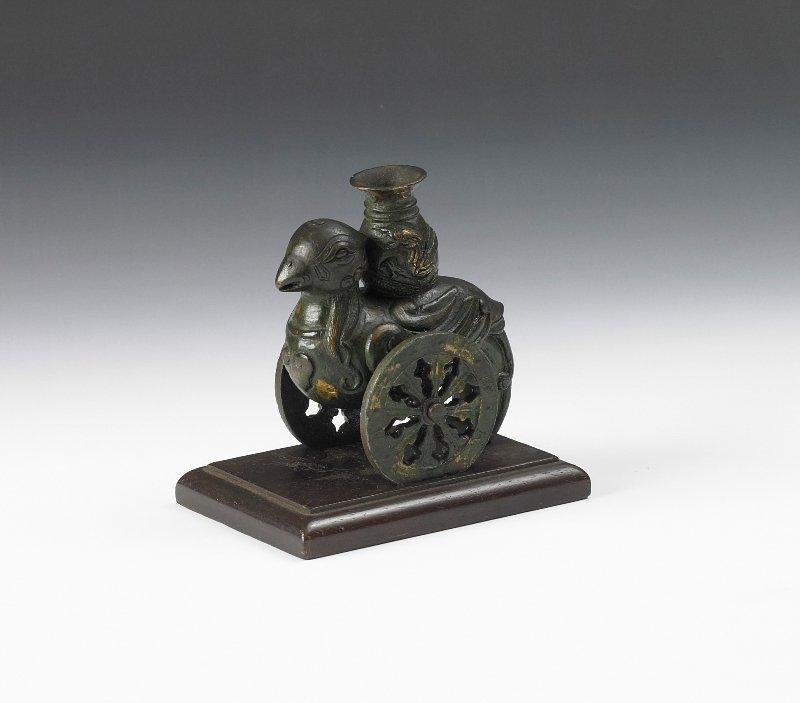 7: A bronze bird form vase, Early 20th Century