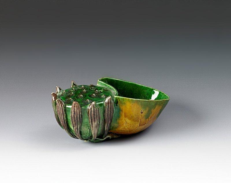 22: A sancai lotus form water dropper, Kangxi period