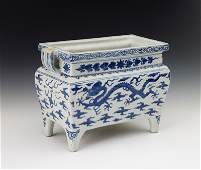 119 A blue and white dragon censer Ming Dynasty