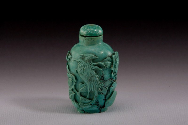 2: A carved Turquoise snuff bottle, 19TH CENTURY