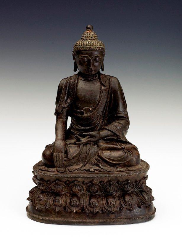 205: A bronze figure of Buddha, JIAJING PERIOD