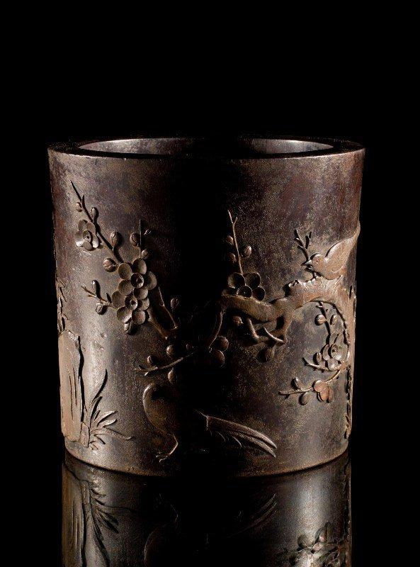 216: A bamboo-inlaid zitan brushpot (BiTong), 18TH CENT