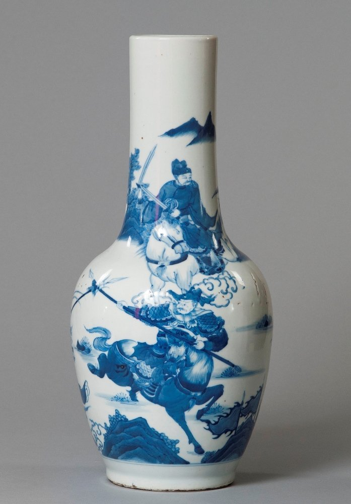 A BLUE AND WHITE FIGURAL VASE