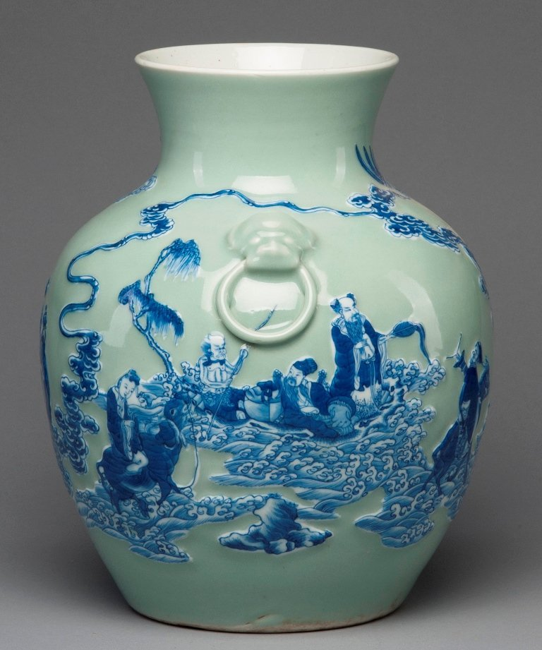 A LARGE CELADON-GROUND BLUE AND WHITE JAR