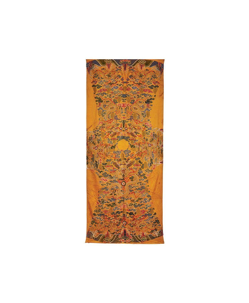 A YELLOW SILK IMPERIAL COURT NINE-DRAGONS ROBE