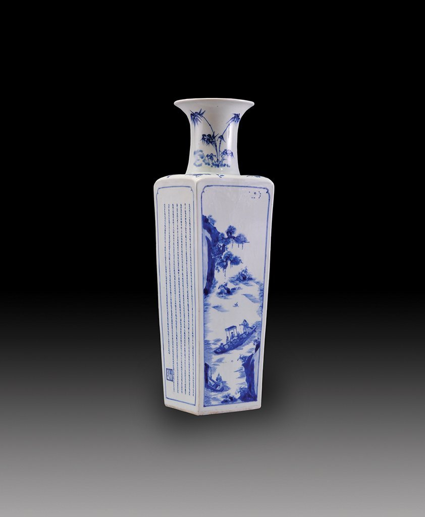A LARGE OF  BLUE AND WHITE SQUARE VASE