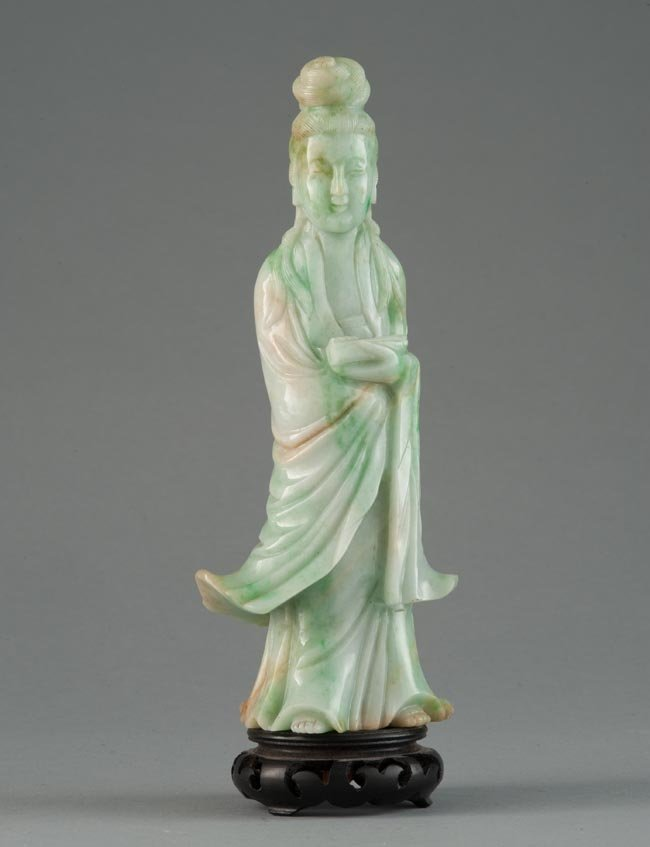 A JADEITE CARVING OF GUANYIN