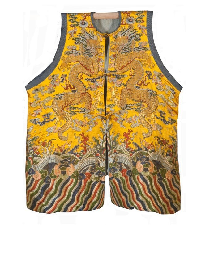 AN EMBROIDERED IMPERIAL YELLOW SILK  DRAGON ROBE