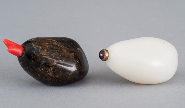 TWO OF JADE-STONE SNUFF BOTTLE