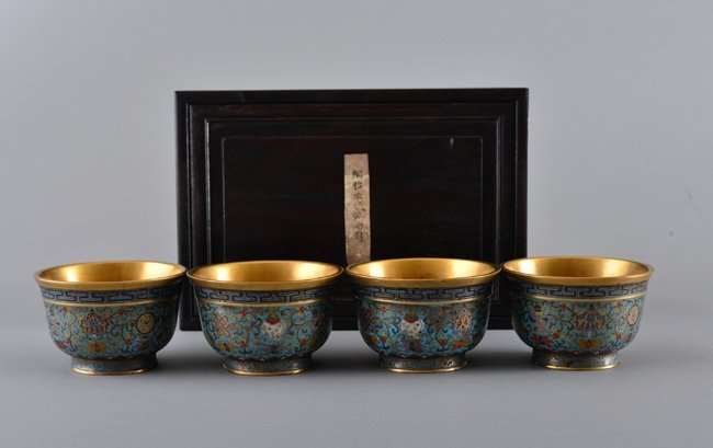 FOUR GILT-BRONZE CLOISNNE ENAMEL BOWLS AND BOX