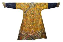A YELLOW GROUND EMBROIDERED DRAGON ROBE