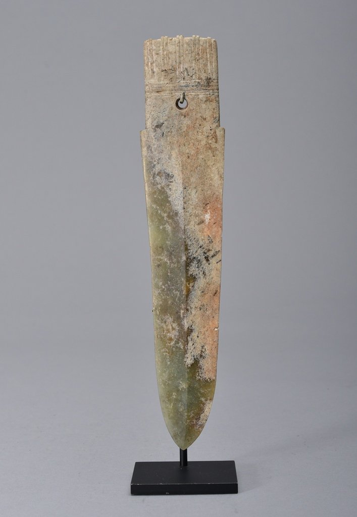 A JADE GE DAGGER BLADE WITH PERFORATION