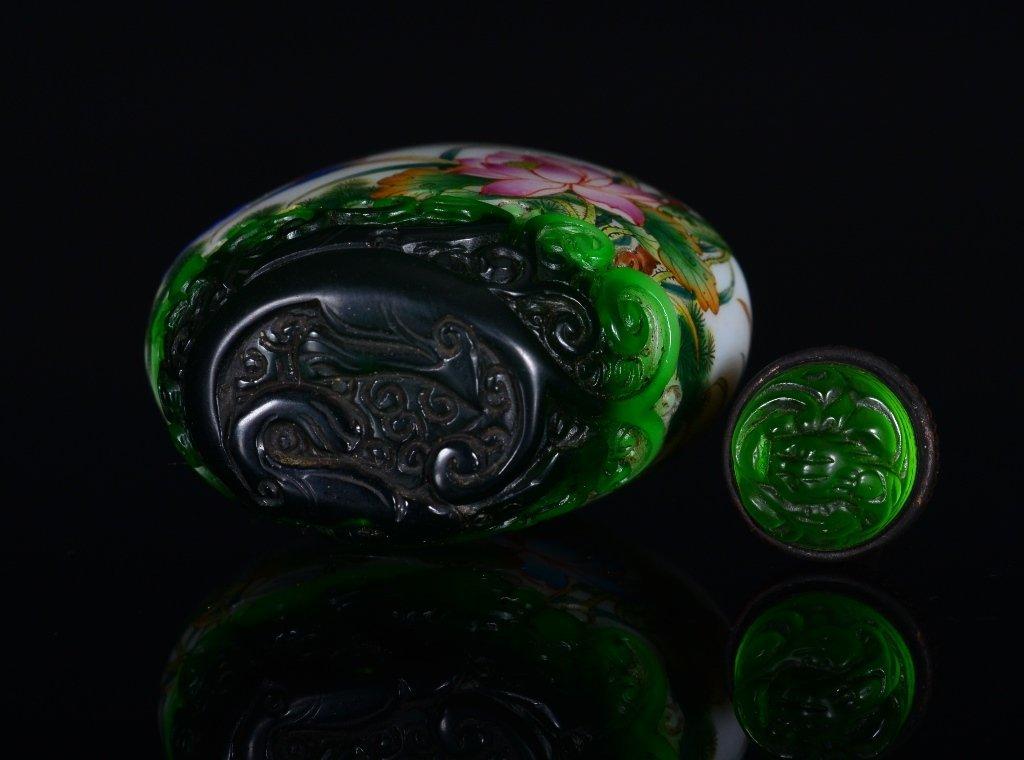 A PAINTED ENAMEL GLASS SNUFF BOTTLE - 6
